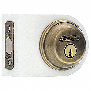 Deadbolt,Antique Brass,Keyed Different
