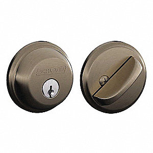Light-Duty Antique Pewter B-Series Deadbolt, Single-Cylinder, Different