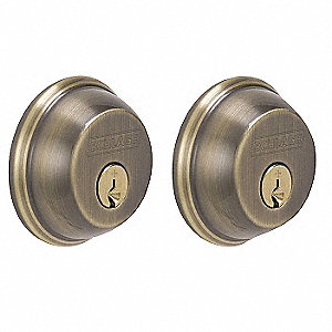 Deadbolt,Antique Brass,Double Cylinder