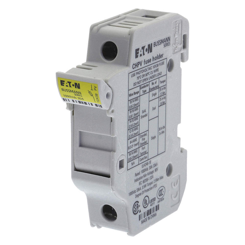 1-Pole Solar Fuse Holder, AC: Not Rated, DC: 1000VDC, 0 to 30A, Series on