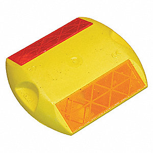 "Pavement Marker,  Yellow/Red,  Two Way,  4"" Length,  3-3/4"" Width,  5/8"" Height"