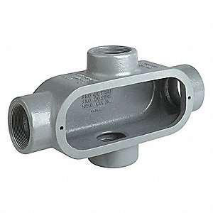 "X-Style 1-1/2"" Conduit Outlet Body, Threaded Iron, 42.5 cu. in."