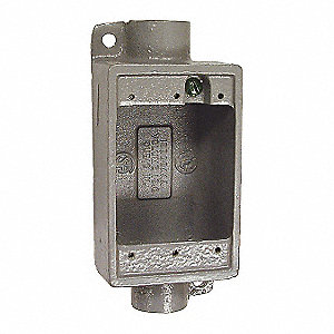 Device Box, 1-Gang, 2-Inlet, Aluminum