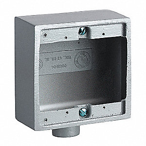 Device Box, 2-Gang, 1-Inlet, Aluminum