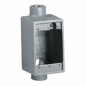 Device Box, 1-Gang, 3-Inlet, Malleable Iron
