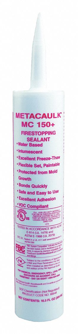 Firestop Sealant, 10.3 oz Tube, Up to 4 hr Fire Rating, Red