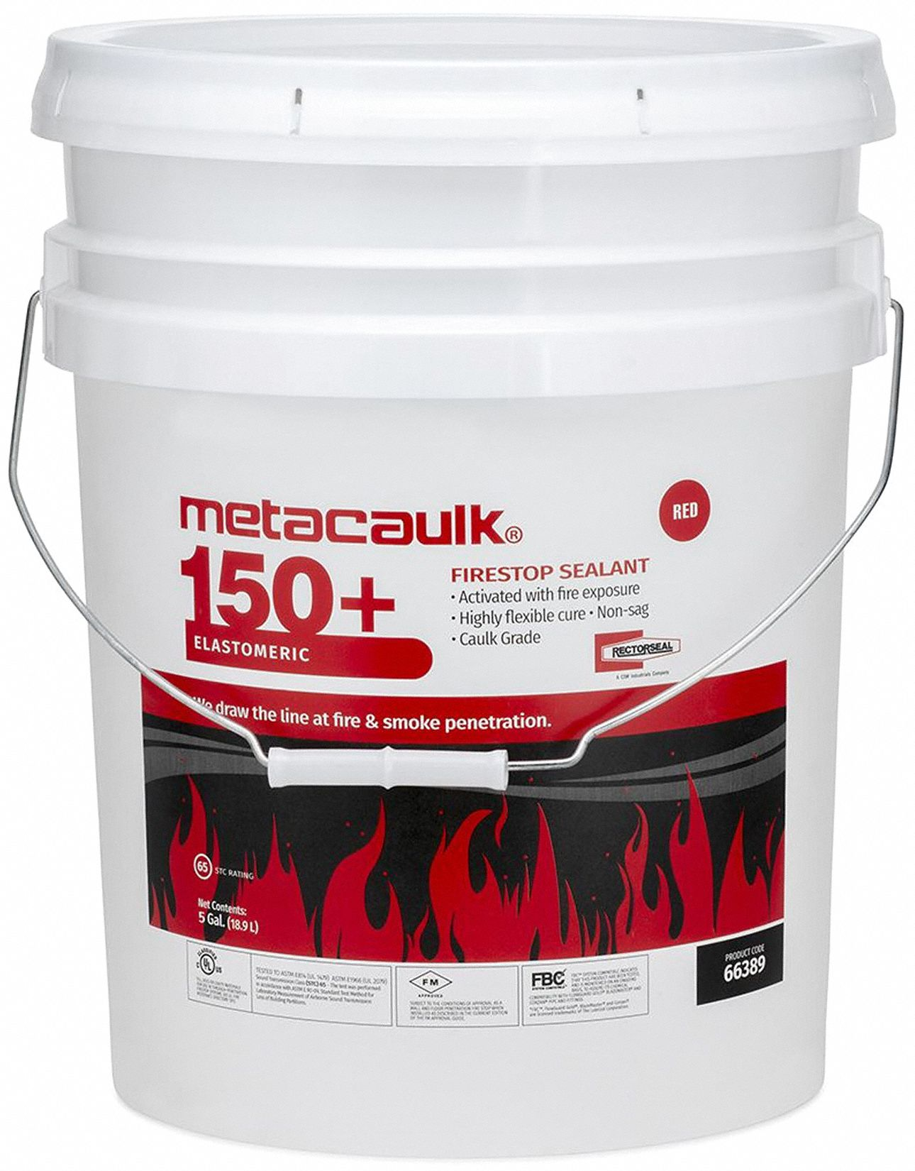 Firestop Sealant, 5 gal Pail, Up to 4 hr Fire Rating, Red