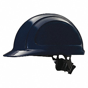 Front Brim Hard Hat, 4 pt. Ratchet Suspension, Navy, Hat Size: 6-1/2 to 8