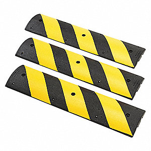 "Speed Bump, Rubber, 4 ft. x 2-1/4"" x 12"", Black/Yellow, 350 psi"