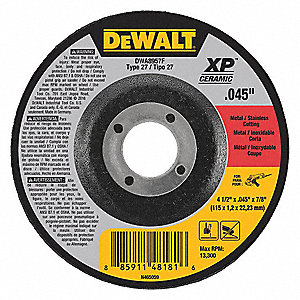 "4-1/2"" Type 27 Ceramic Abrasive Cut-Off Wheel, 7/8"" Arbor, 0.040""-Thick, 13,300 Max. RPM"