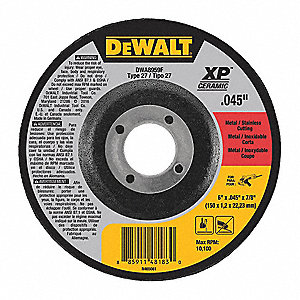 "6"" Type 27 Ceramic Abrasive Cut-Off Wheel, 7/8"" Arbor, 0.045""-Thick, 10,100 Max. RPM"