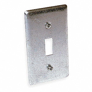"Galvanized Zinc Electrical Box Cover, Box Type: Square, Number of Gangs: 1, 2-1/4"" Width"