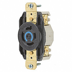 Black Locking Receptacle, 20 Amps, 250VAC Voltage, NEMA Configuration: L15-20R