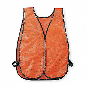 Orange/Red Stripe Hi-Visibility Vest, Hook-and-Loop Closure, Universal