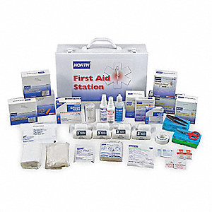 First Aid Kit, Kit, Steel Case Material, General Purpose, 100 People Served Per Kit