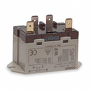 Enclosed Power Relay, 4 Pins, 100/120VAC Coil Volts, 30A @ 220VAC Contact Amp Rating (Resistive)