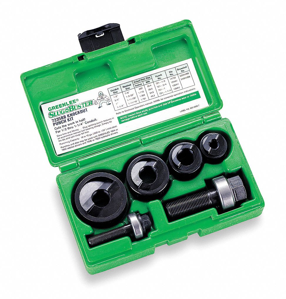 "1 Greenlee 3/"" Conduit Size Knockout Replacement Punch w//Manual Draw Stud Set"