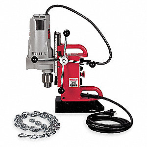 "Magnetic Drill Press, 120VAC, 3/4"" Capacity Steel, 350 No Load RPM"