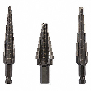 Step Drill Bit Set,HSS,1/8-3/4 In.,3 pc.