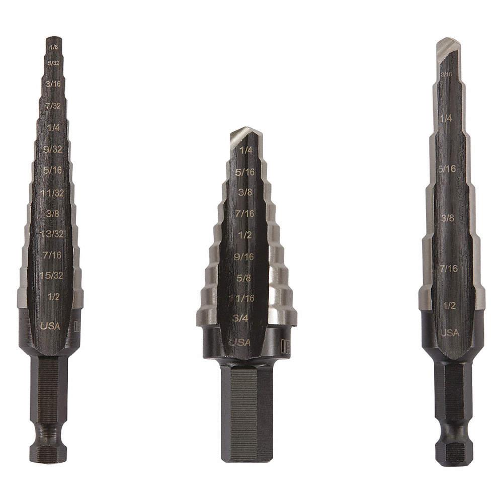 Step Drill Bit >> 3 Pc Hex Step Drill Bit Set High Speed Steel 28 Hole Sizes 1 8 To 3 4