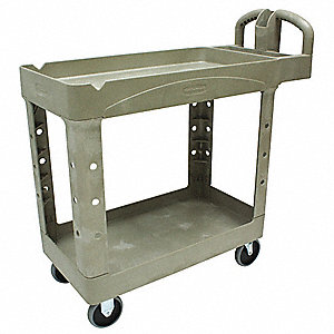 Polypropylene Raised Handle Deep Shelf Utility Cart, 750 lb. Load Capacity, Number of Shelves: 2