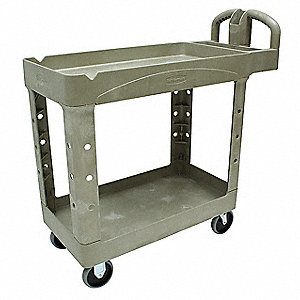 "39""L x 17-7/8""W Beige Utility Cart, 500 lb. Load Capacity, Number of Shelves: 2"