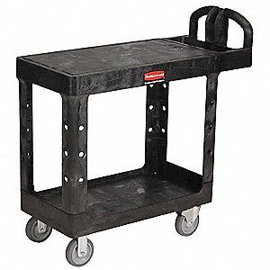 "37-7/8""L x 17""W Black Utility Cart, 500 lb. Load Capacity, Number of Shelves: 2"