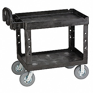 Polypropylene Raised Handle Deep Shelf Utility Cart, 500 lb. Load Capacity, Number of Shelves: 2