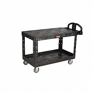 Polypropylene Raised Handle Utility Cart, 750 lb. Load Capacity, Number of Shelves: 2