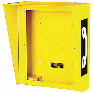 "Hooded Telephone Enclosure, Yellow, Height 12-5/16"", Width 10-5/16"", Depth 6-3/8"""