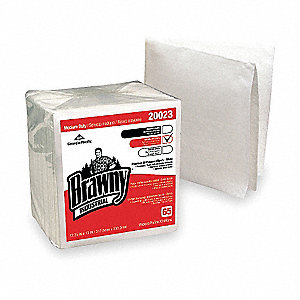 White DRC (Double Re-Creped) Disposable Wipes, Number of Sheets 65, Package Quantity 18