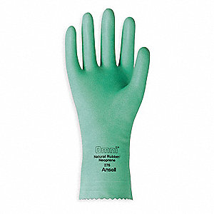 20.00 mil Natural Rubber Latex / Neoprene Chemical Resistant Gloves, Green, Size 7, 1 PR