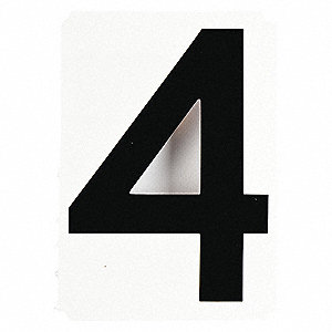 "Carded Number, 4, Black, 4"" Character Height, 10 PK"