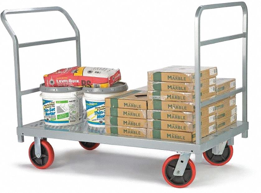 Flow-Through Steel-Deck Platform Truck,  54 in x 30 in x 8-1/2 in,  2,400 lb Load Capacity