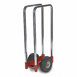 "20""L x 15""W x 38-1/4""H Red/Silver Panel Dolly, 350 lb. Load Capacity"