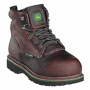"6""H Men's Work Boots, Steel Toe Type, Leather Upper Material, Dark Brown, Size 8-1/2M"