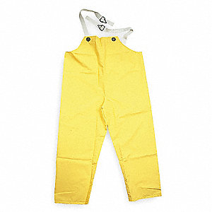 Flame Resistant Rain Bib Overall, PPE Category: 0, High Visibility: No, PVC, 3XL, Yellow