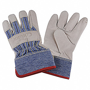 Cowhide Leather Work Gloves, Safety Cuff, Blue/Tan, Size: M, Left and Right Hand
