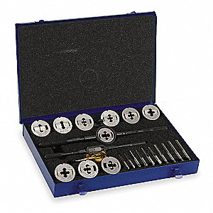 "High Speed Steel Tap and Die Set, SAE, Number of Pieces: 23, 1/4 to 1/2"" Size/Range"