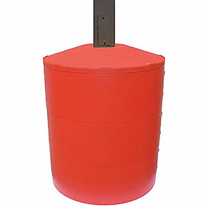 "Light Pole Base Cover, Red, For Post Size 8"" dia., For Post Shape Round"