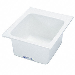 "Drop-In-Mount Utility Sink, 20"" x 17"" Square Bowl, White"