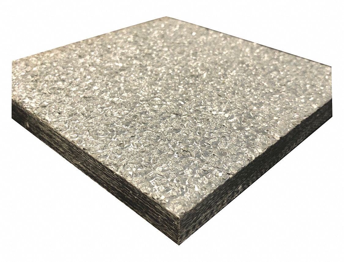 FiberPlate, Grit, Poly, Gry, 1/2 x 24 x24 In