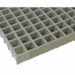 Light Gray Molded Grating, FGI-AM®, Antimicrobial Premium Polyester Resin Type, 5 ft. Span, Grit-Top