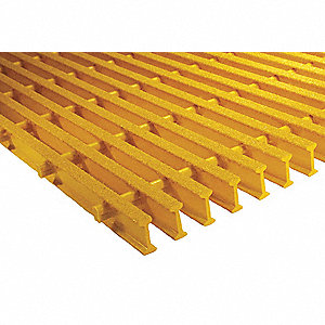 Yellow Industrial Pultruded Grating, ISOFR Resin Type, 5 ft. Span, Grit-Top Surface