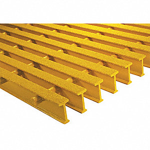 Yellow Industrial Pultruded Grating, ISOFR Resin Type, 10 ft. Span, Grit-Top Surface