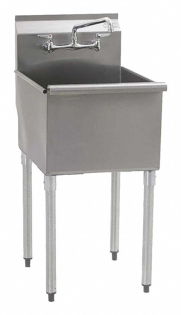 Utility Sink,  Stainless Steel,  25 3/8 in Overall Length,  28 in Overall Width