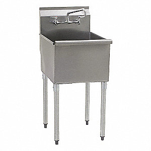 "Floor-Mount Utility Sink, 18"" x 18"" Square Bowl, Stainless"