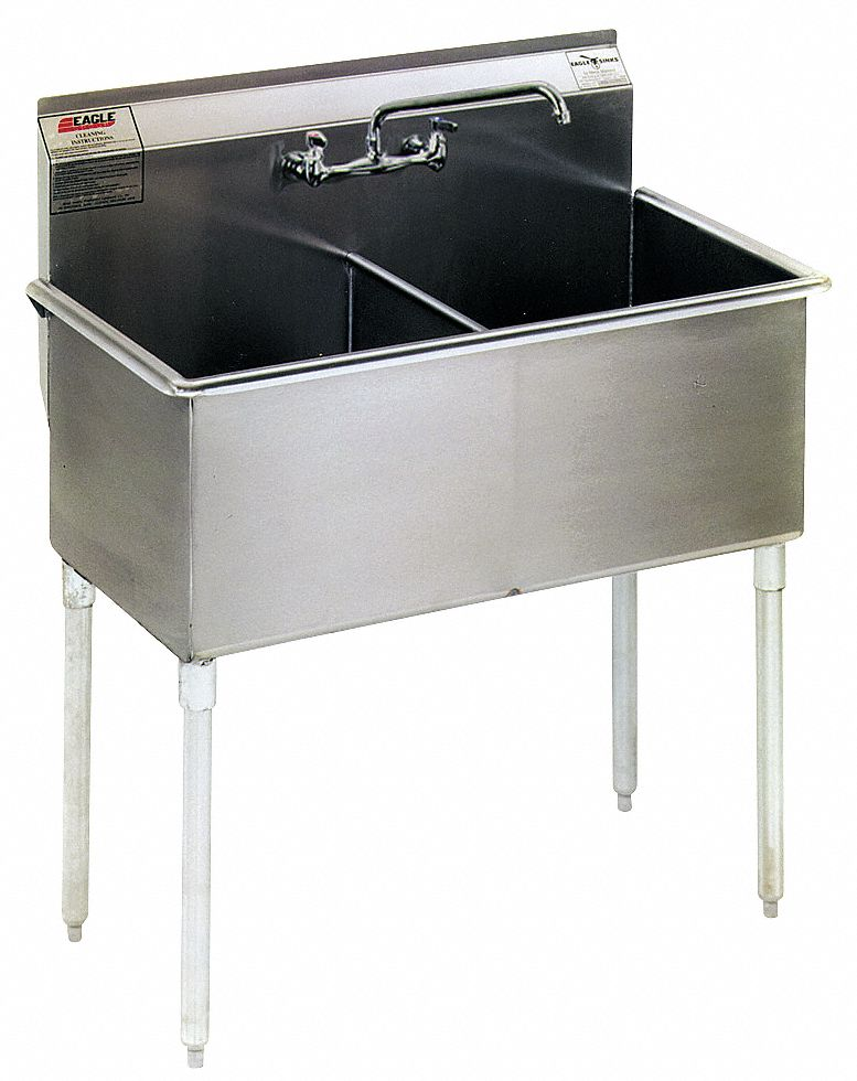Utility Sink,  Stainless Steel,  49 3/8 in Overall Length,  28 in Overall Width