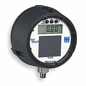 "0 to 1000 psi Digital Pressure Gauge, 4-1/2"" Dial, 1/2"" MNPT Connection, Plastic"