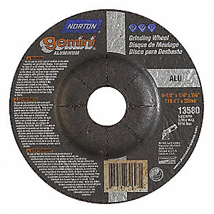 "4-1/2"" x 1/4"" Depressed Center Wheel, Aluminum Oxide, 7/8"" Arbor Size, Type 27, Gemini Aluminum"